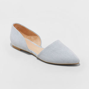 Rebecca Microsuede Pointed Two Piece Ballet Flats